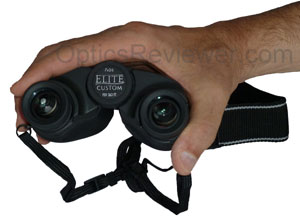 Comparison of Elite Custom's size to a hand