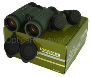 A Vortex Viper HD, its rain guard, and its packaging