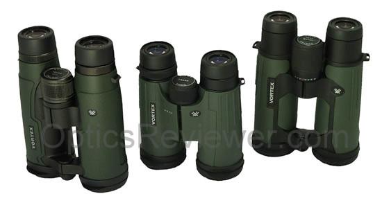 A top view of the Talon HD, Viper HD and Razor HD binoculars