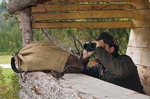 A man using Swarovski binoculars from a blind