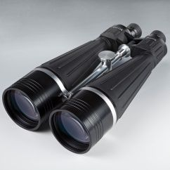 Angled view of Zhumell 25x100 Tachyon Binocular objectives